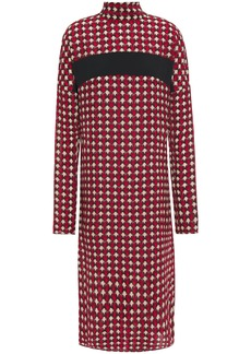 Marni Woman Bow-detailed Printed Silk-crepe Dress Red