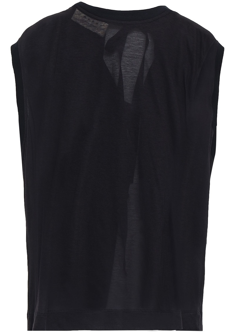 Marni Woman Bow-detailed Slub Cotton-jersey Top Midnight Blue
