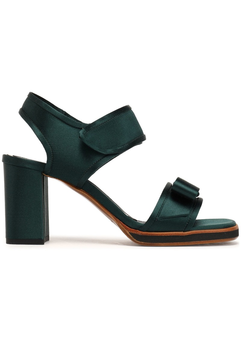Marni Woman Bow-embellished Satin Sandals Forest Green