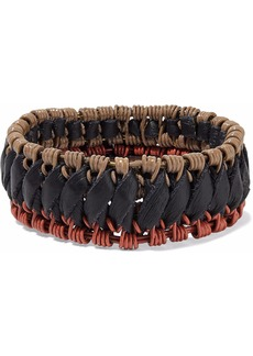 Marni Woman Braided Faux Leather Bangle Black