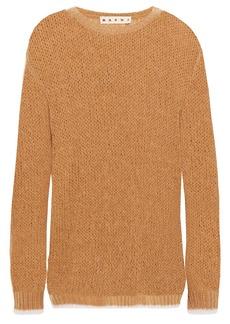 Marni Woman Brushed Open-knit Sweater Camel