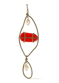 Marni Woman Burnished Gold-tone Faux Pearl And Resin Earring Red