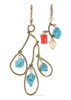 Marni Woman Burnished Gold-tone Stone Faux Pearl And Resin Earrings Turquoise