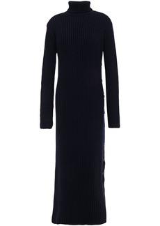 Marni Woman Button-detailed Ribbed Wool Turtleneck Midi Dress Midnight Blue
