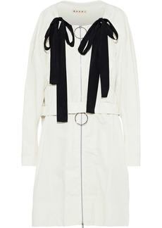 Marni Woman Bow-embellished Cotton-canvas Jacket Off-white