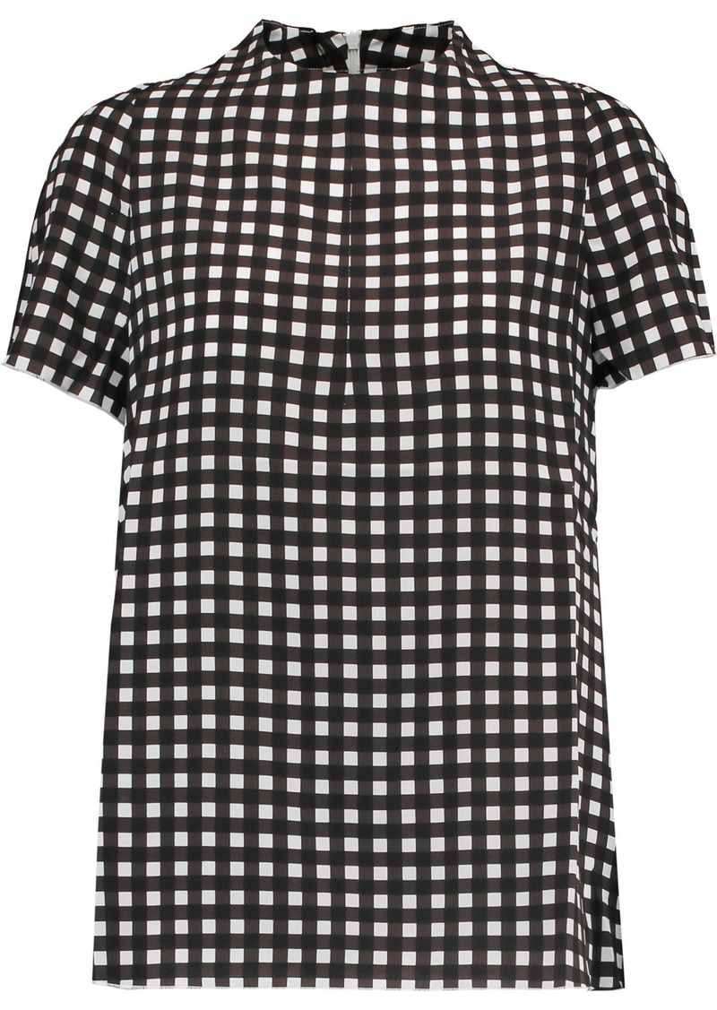 Marni Woman Gingham Silk Top Chocolate