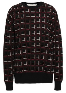 Marni Woman Checked Wool-jacquard Sweater Black