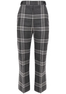 Marni Woman Checked Wool Kick-flare Pants Gray