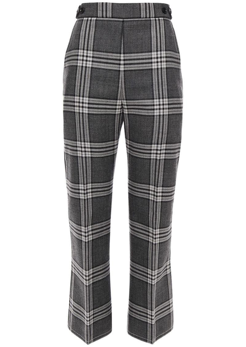 Marni Woman Checked Wool Kick-flare Pants Gray
