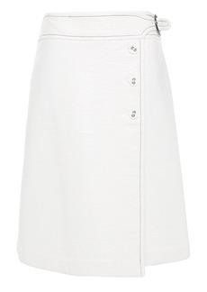 Marni Woman Coated Cotton-blend Wrap Skirt White
