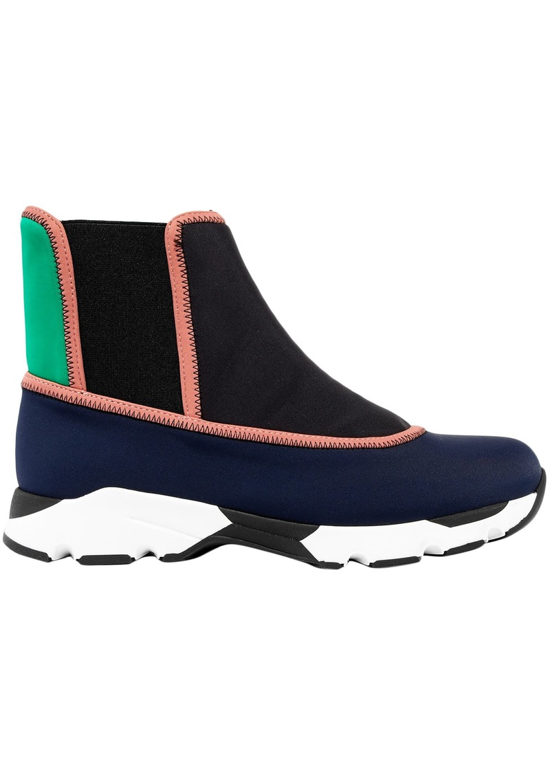 Marni Woman Color-block Neoprene High-top Sneakers Navy