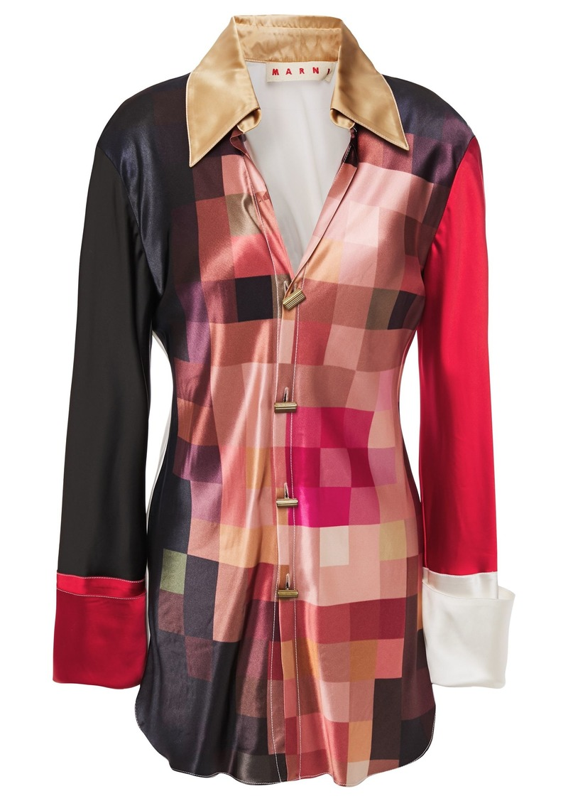 Marni Woman Color-block Printed Satin Shirt Antique Rose