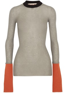 Marni Woman Color-block Ribbed-knit Sweater Gray