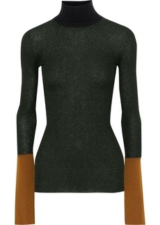 Marni Woman Color-block Ribbed-knit Turtleneck Top Forest Green