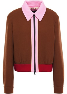 Marni Woman Color-block Wool-crepe Jacket Brown