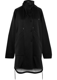 Marni Woman Convertible Satin-crepe Hooded Jacket Black