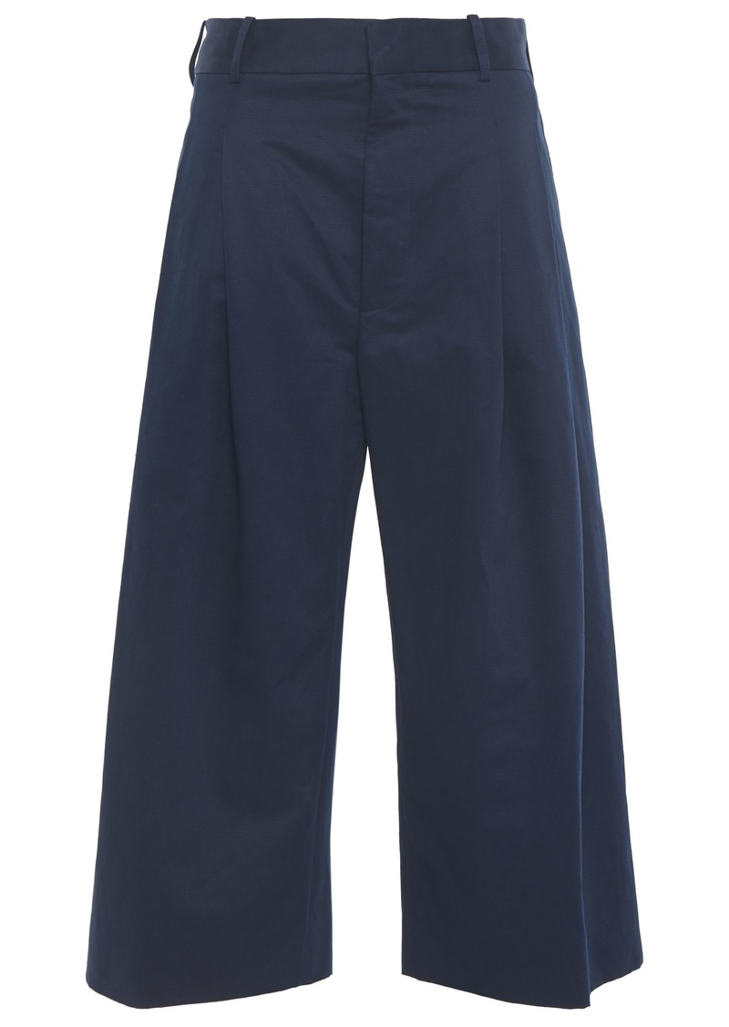 Marni Woman Cotton And Linen-blend Culottes Navy