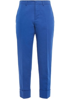 Marni Woman Cotton And Linen-blend Gabardine Tapered Pants Royal Blue