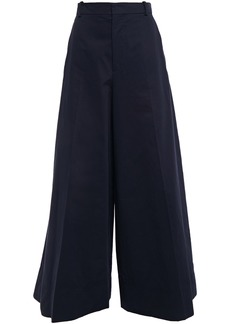 Marni Woman Cotton And Linen-blend Gabardine Wide-leg Pants Navy