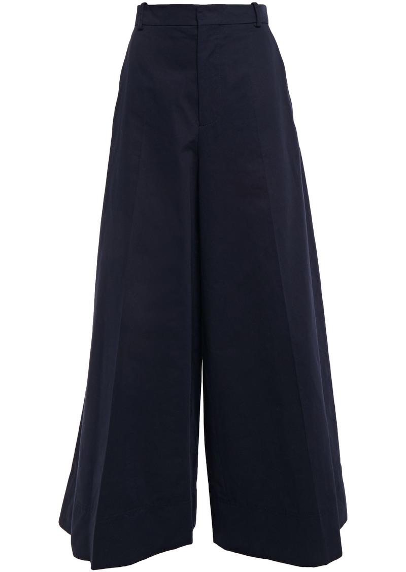 Marni Woman Cotton And Linen-blend Gabardine Wide-leg Pants Navy