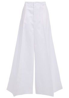 Marni Woman Cotton And Linen-blend Gabardine Wide-leg Pants White