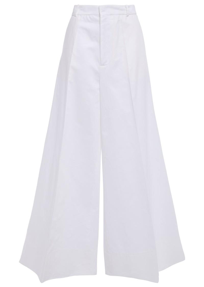 Marni Woman Cotton And Linen-blend Gabardine Wide-leg Pants White