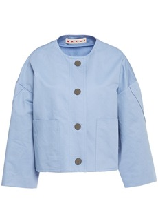 Marni Woman Cotton And Linen-blend Twill Jacket Sky Blue