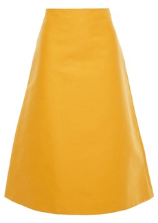 Marni Woman Cotton-canvas Midi Skirt Mustard