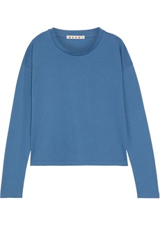 Marni Woman Cotton-jersey Top Slate Blue