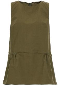 Marni Woman Cotton-poplin Peplum Top Army Green