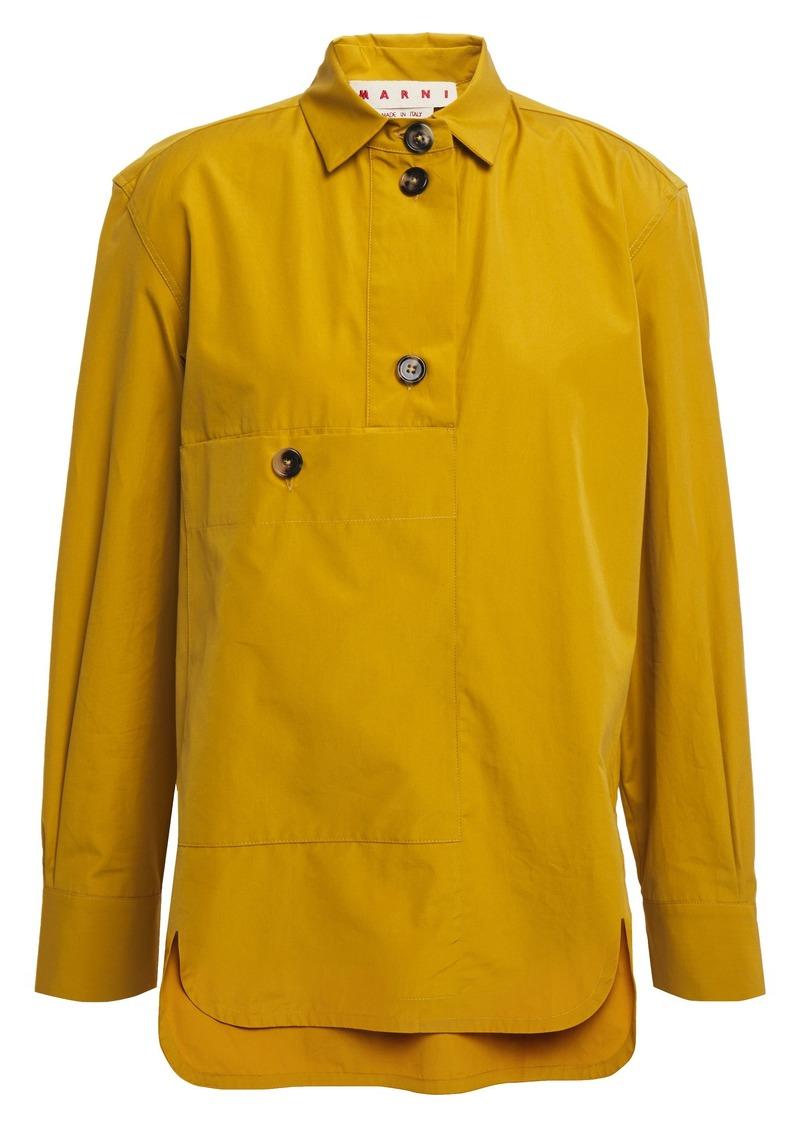 Marni Woman Cotton-poplin Shirt Mustard