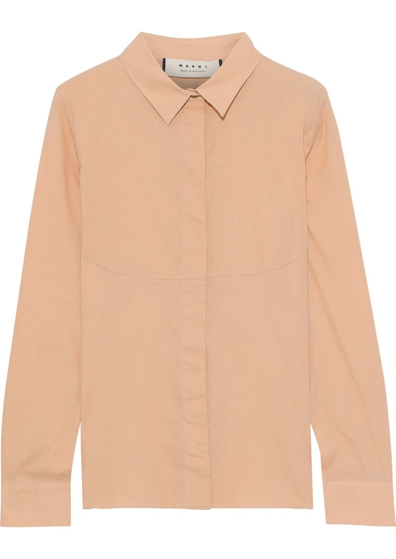 Marni Woman Cotton-poplin Shirt Peach