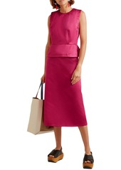 Marni Woman Cotton-sateen Peplum Top Fuchsia