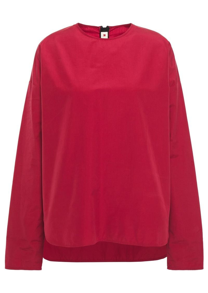 Marni Woman Zip-detailed Cotton-poplin Top Claret