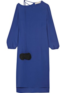 Marni Woman Crepe De Chine Dress Bright Blue