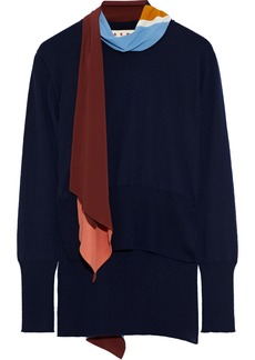 Marni Woman Crepe De Chine-paneled Cashmere Sweater Navy