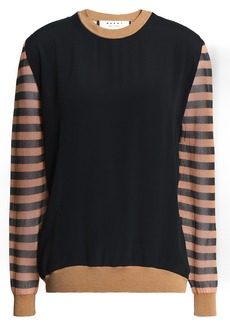 Marni Woman Crepe De Chine-paneled Striped Crochet-knit Top Black