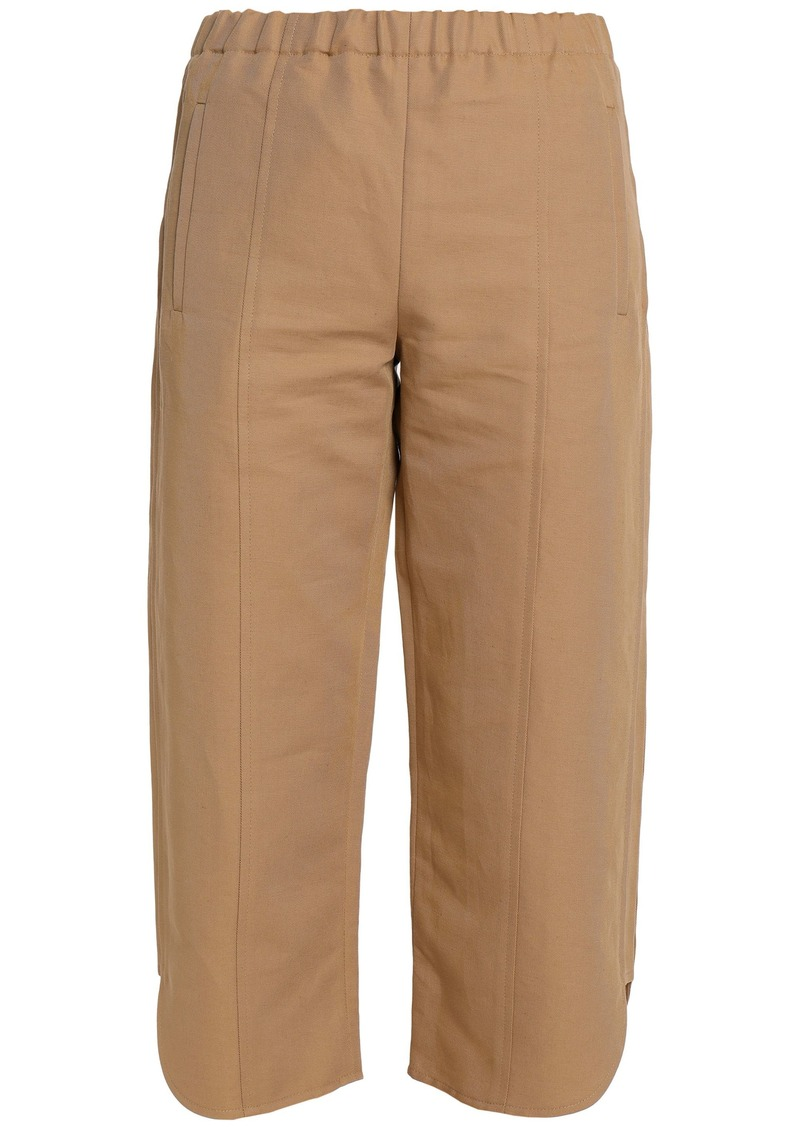 Marni Woman Cropped Cotton And Linen-blend Twill Straight-leg Pants Sand