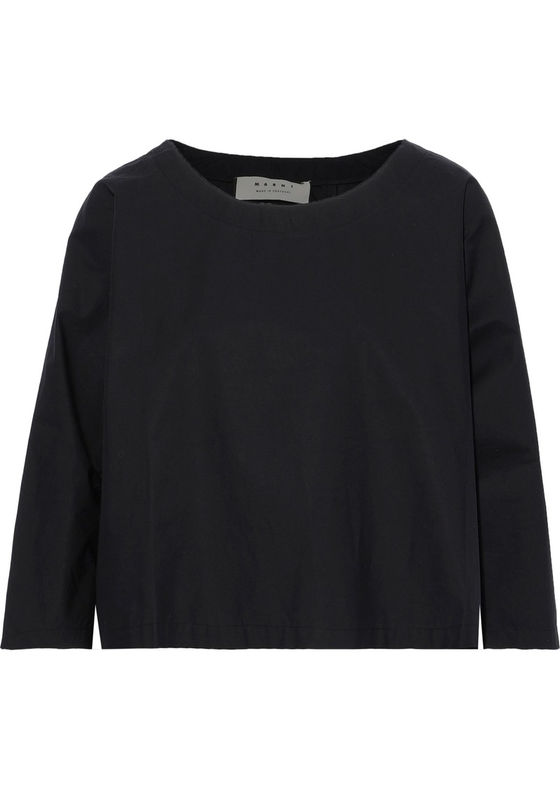 Marni Woman Cropped Cotton-poplin Top Black
