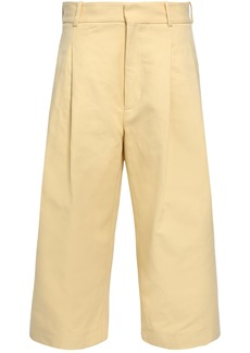 Marni Woman Cropped Cotton-twill Wide-leg Pants Pastel Yellow