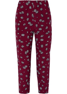Marni Woman Cropped Floral-print Silk-crepe Slim-leg Pants Plum