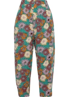 Marni Woman Cropped Floral-print Silk-crepe Tapered Pants Jade