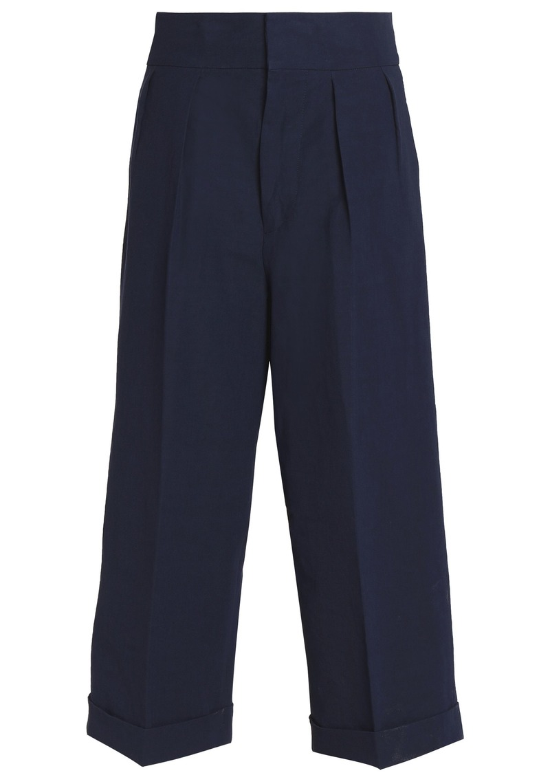 Marni Woman Cropped Linen-blend Wide-leg Pants Midnight Blue