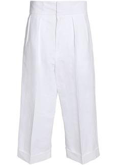 Marni Woman Cropped Linen-blend Wide-leg Pants White