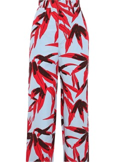 Marni Woman Cropped Printed Cotton And Linen-blend Straight-leg Pants Sky Blue