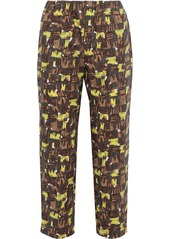 Marni Woman Cropped Printed Cotton-poplin Tapered Pants Brown