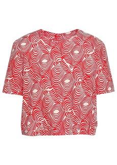 Marni Woman Cropped Printed Cotton-poplin Top Tomato Red