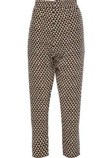 Marni Woman Cropped Printed Silk-crepe Tapered Pants Stone