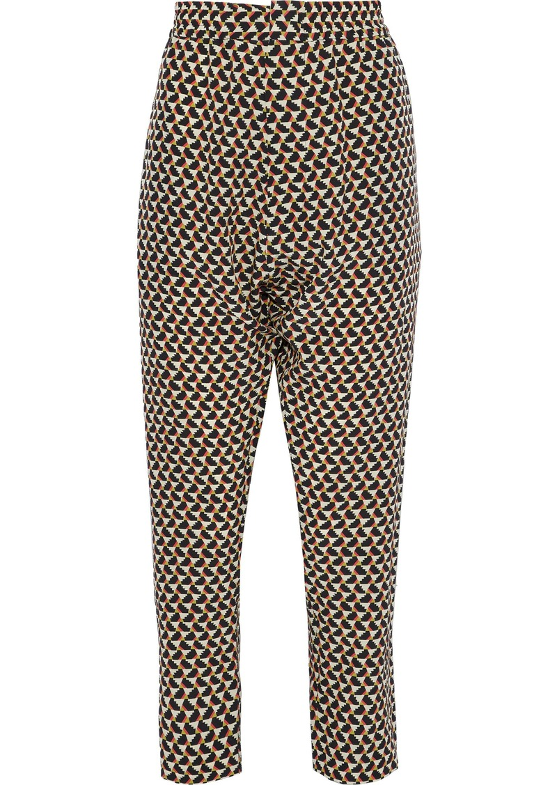Marni Woman Cropped Printed Silk-crepe Tapered Pants Stone