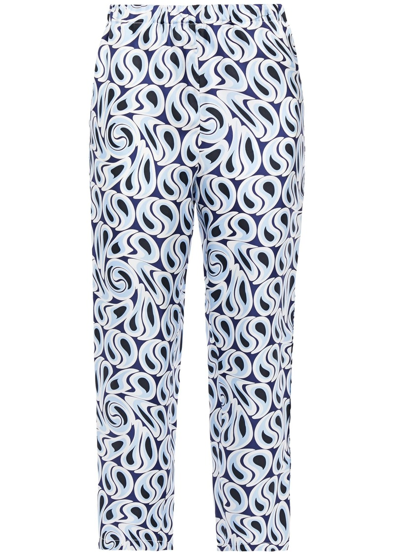 Marni Woman Cropped Printed Silk-twill Tapered Pants Light Blue